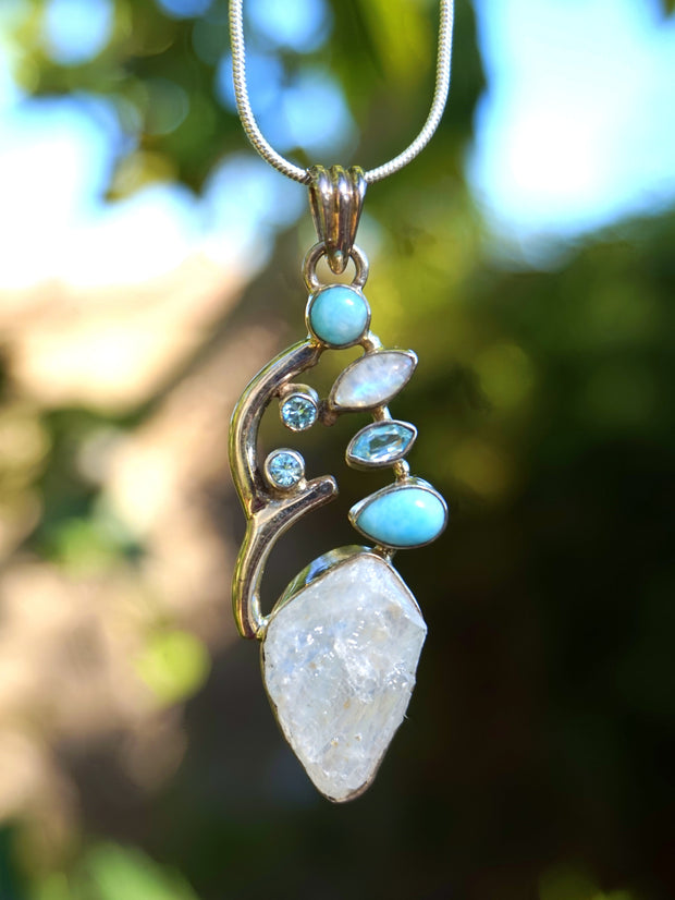 Rough Moonstone Pendant 1 with Larimar and Blue Topaz