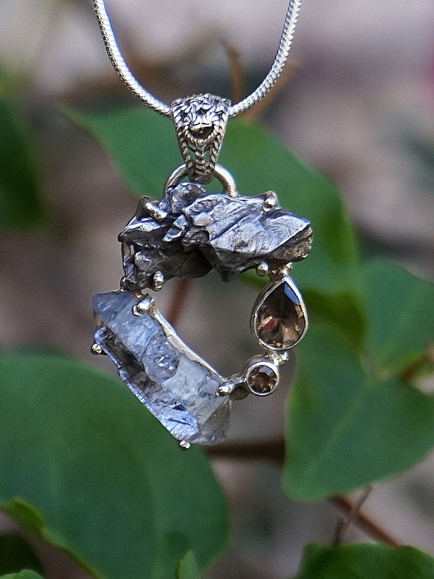 Garden Beauty Pendant 7 with Meteorite, Herkimer Quartz Crystal, and Smoky Quartz
