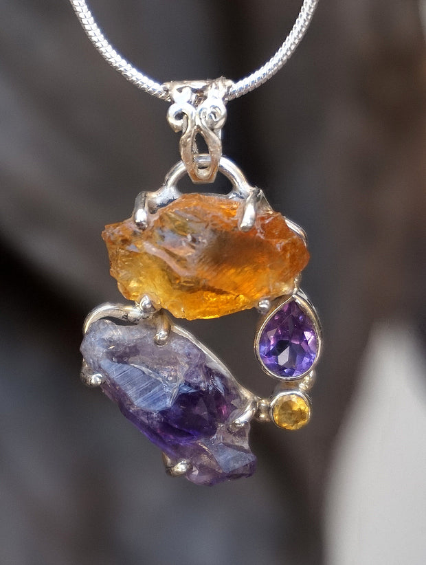 Garden Beauty Pendant 4 with Citrine and Amethyst