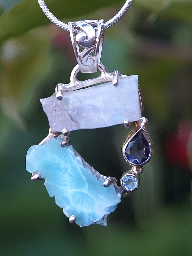 Garden Beauty Pendant 5 with Larimar, Moonstone, Tanzanite and Blue Topaz