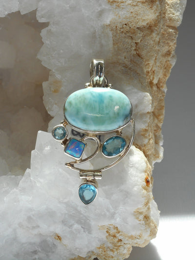 Larimar Pendant 12 with Blue Topaz and Fire Opal