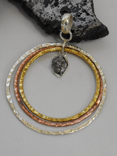 Delicate Sterling and Copper Hoop Pendant 1 with Meteorite