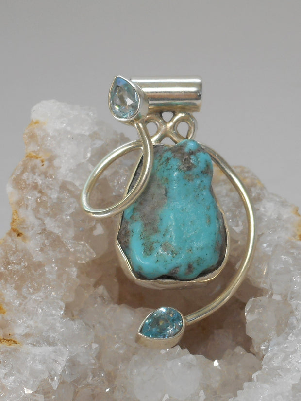 Artisan Turquoise Pendant 6 with Blue Topaz
