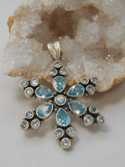 Delicate Blue Topaz Pendant with Fire Opal
