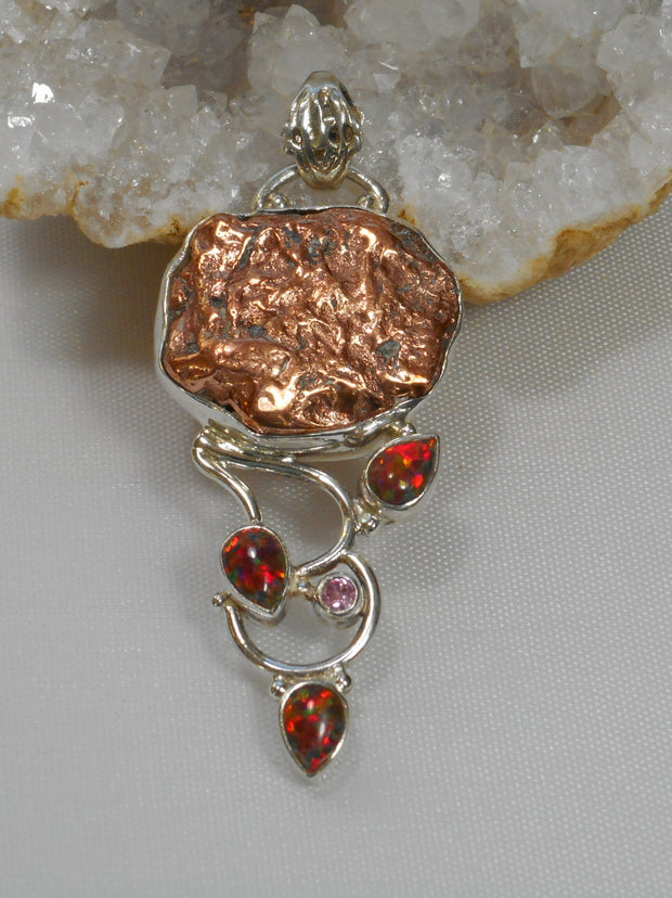 Native Copper Pendant 3 with Fire Opals and Kunzite
