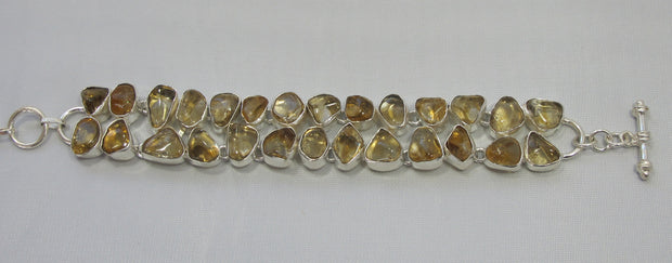 Free-form Citrine Quartz and Sterling Bracelet