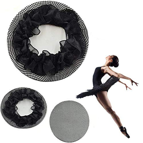 New8Beauty Hair Nets Black - Hair Accessories for Ballet Bun Cover Dance Skating Gymnastics Wedding Performance