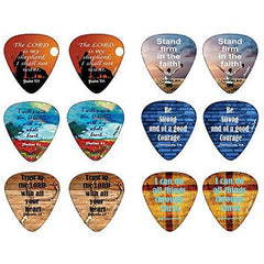 Christian Guitar Picks with Popular Bible Verses -12 Pack