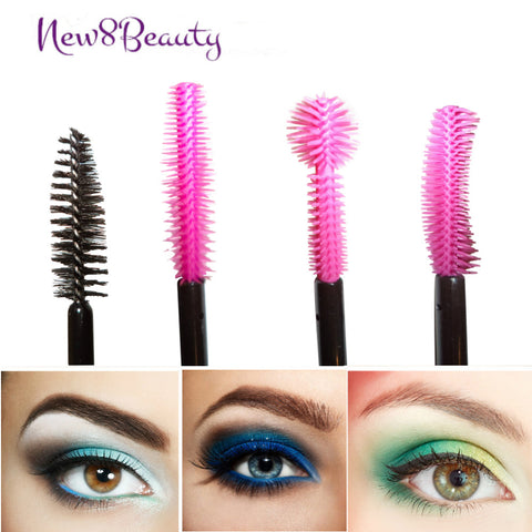 Disposable Silicone and Nylon Eyelash Mascara Wands Brush Set. 50 PC