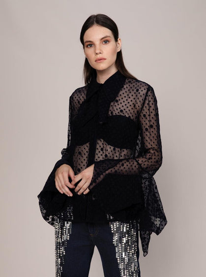BELL SLEEVE TRANSPARENT BLOUSE