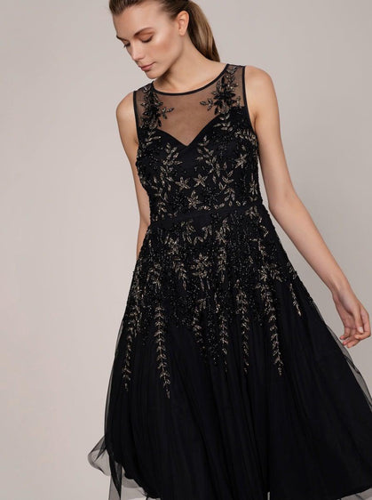 HAND BEADED SHEER NECK GOWN