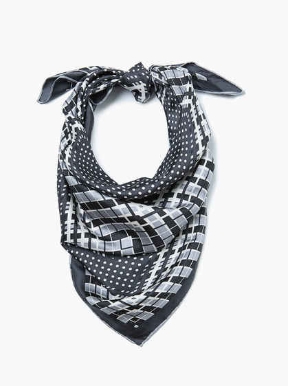 Accessories - Grey, Navy, Black Print Scarf