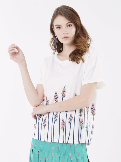 Apparel - FLORAL WHITE TOP