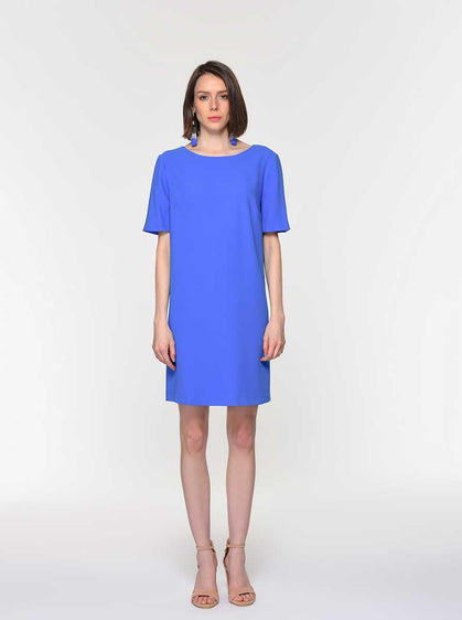 BACK DETAILED SHORT SLEEVE DRESS