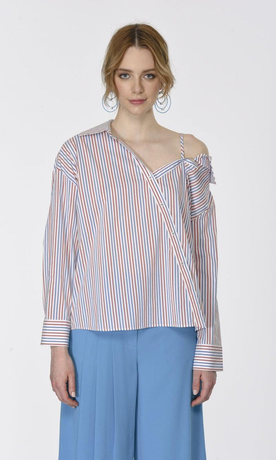 SHOULDER DETAILED STRIPED SHIRT