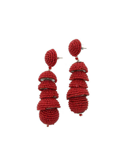 HAND BEADED DROP EARRING
