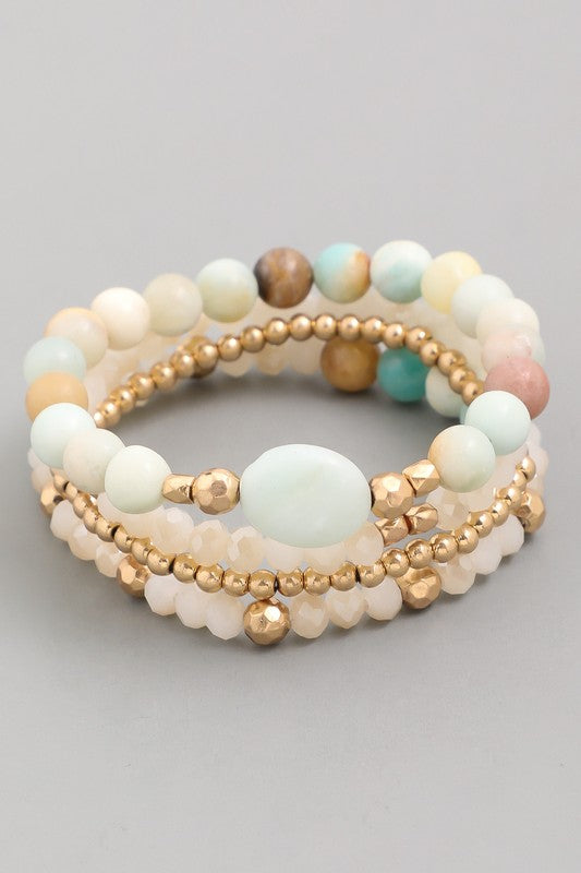 Stone Beaded Bracelet Set - Beau&Arrow