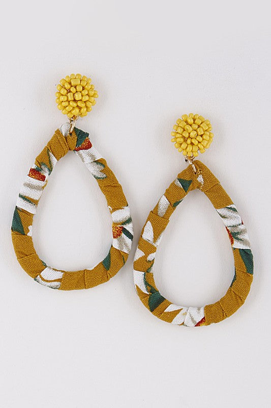 Tropical Vibes Fabric Wrap Earrings