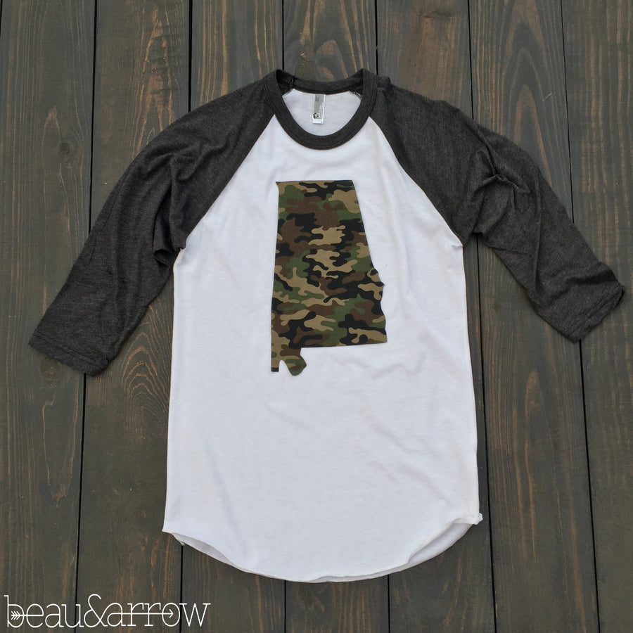 Alabama White Outline Baseball Tee-(More Prints Available) - Beau&Arrow