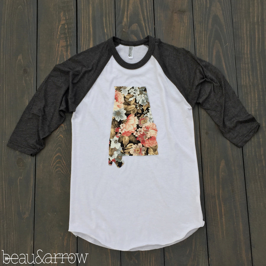 Alabama State Outline Baseball Tee-Floral - Beau&Arrow