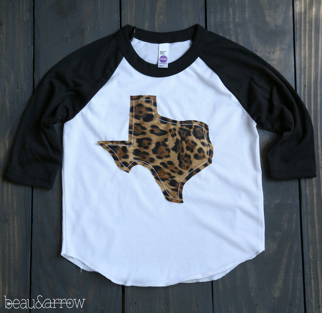 Texas Apparel - Tiny Texas Outline Baseball Tee-Call Of The Wild (Kids Sizes)