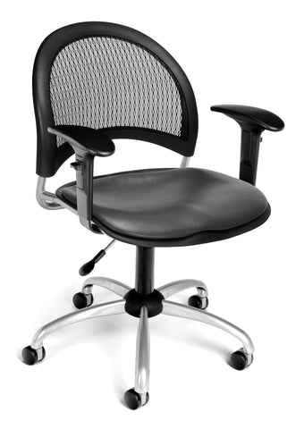 Moon Swivel Chair-Vinyl Seat-Chrc wArms