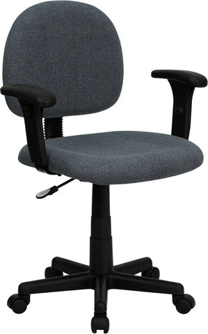 Mid-Back Ergonomic Gray Fabric Task Chair with Adjustable Arms [BT-660-1-GY-GG]