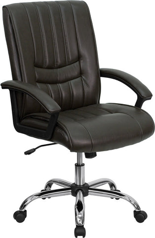 Mid-Back Espresso Brown Leather Manager's Chair [BT-9076-BRN-GG]