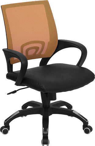 Mid-Back Orange Mesh Computer Chair with Black Leather Seat [CP-B176A01-ORANGE-GG]