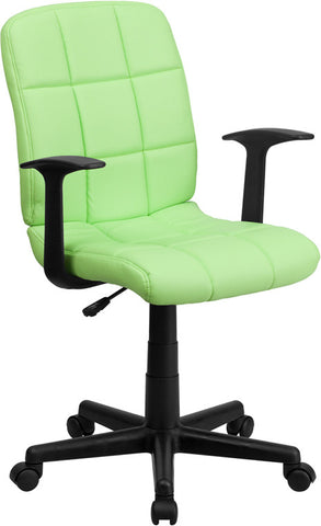 Mid-Back Green Quilted Vinyl Task Chair with Nylon Arms [GO-1691-1-GREEN-A-GG]
