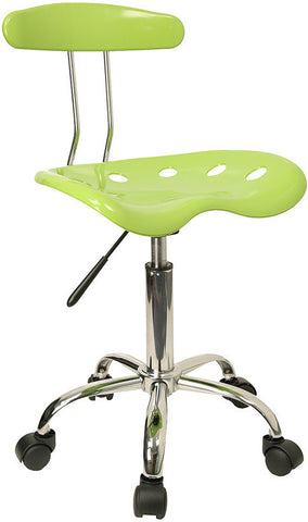 Vibrant Apple Green and Chrome Computer Task Chair with Tractor Seat [LF-214-APPLEGREEN-GG]