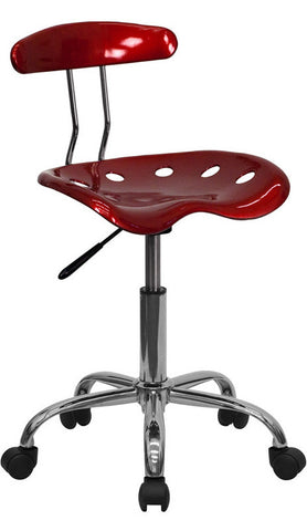 Vibrant Wine Red and Chrome Computer Task Chair with Tractor Seat [LF-214-WINERED-GG]