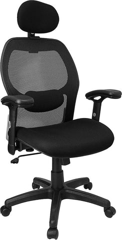 High Back Super Mesh Office Chair with Black Fabric Seat [LF-W42B-HR-GG]
