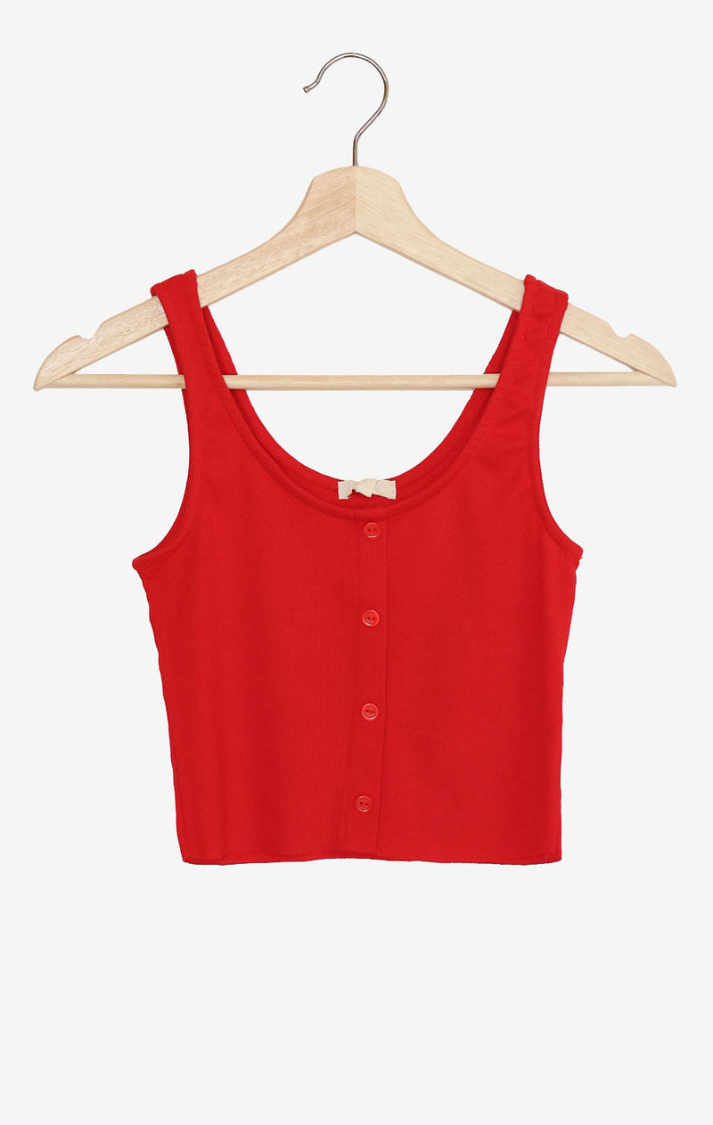 Button Accent Cropped Top - Red