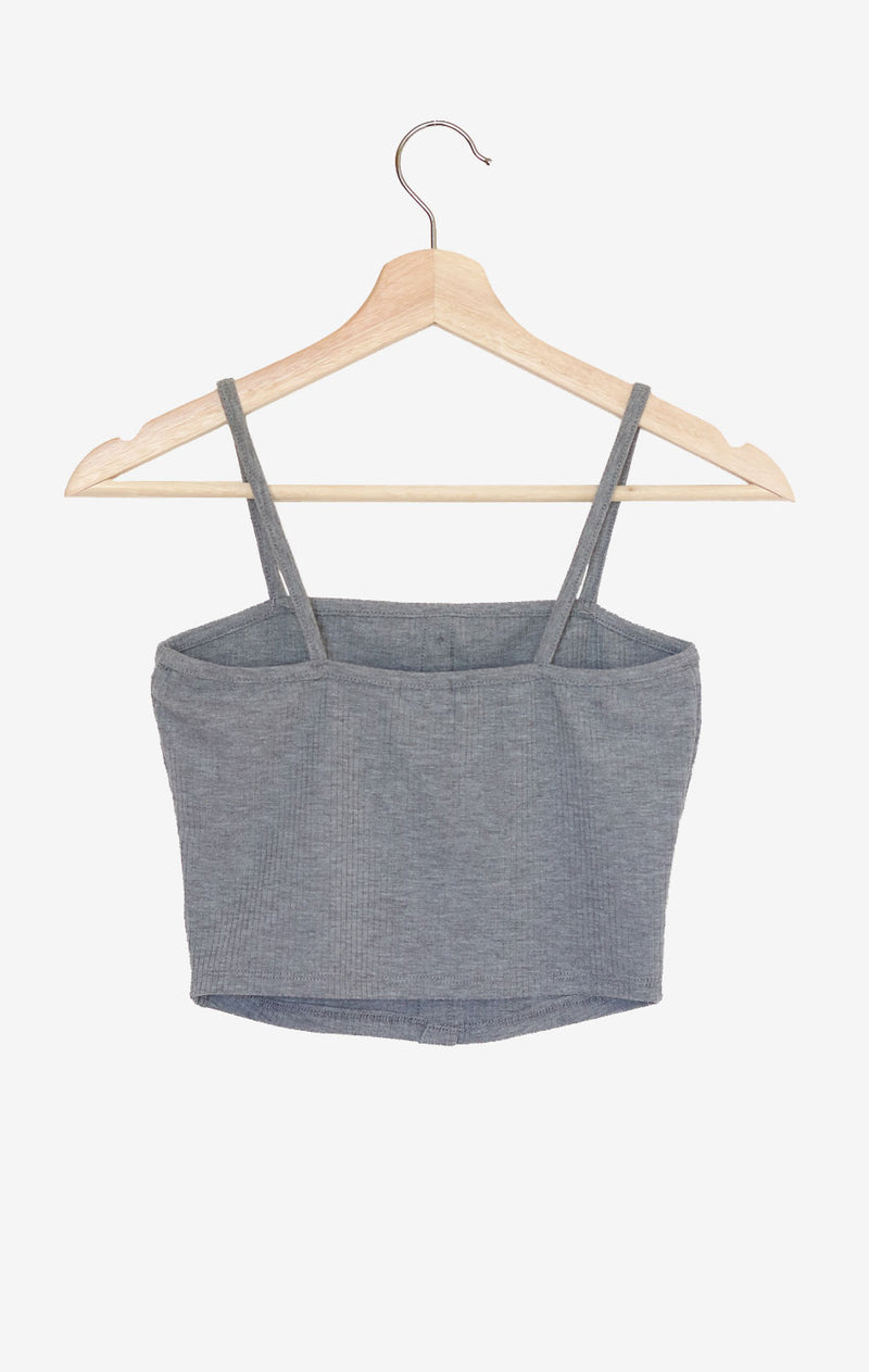 NYCT Clothing Button Accent Ribbed Cami Crop Top - Light Grey