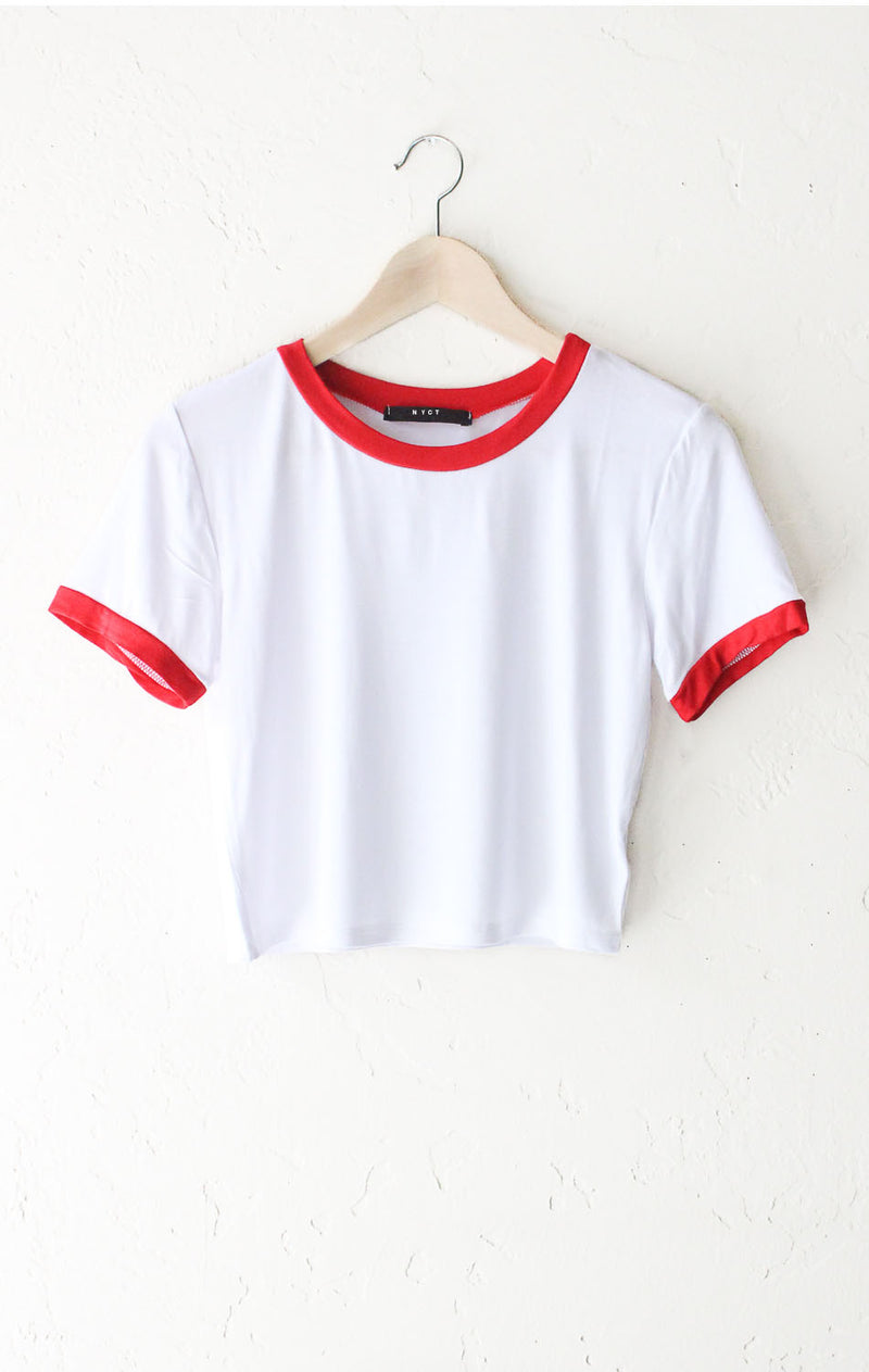 Cropped Ringer Tee - White/Red