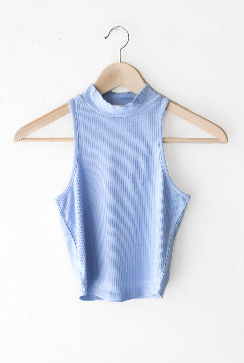 NYCT Clothing High Neck Ribbed Crop Top - Light Blue