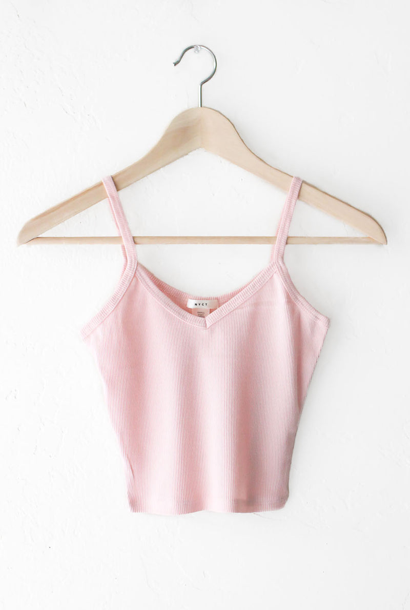 NYCT Clothing Knit V-neck Cami Crop Top - Dusty Pink