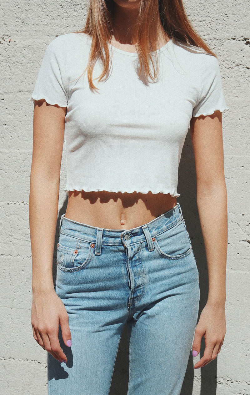 NYCT Clothing Lettuce Edge Crop Top - White