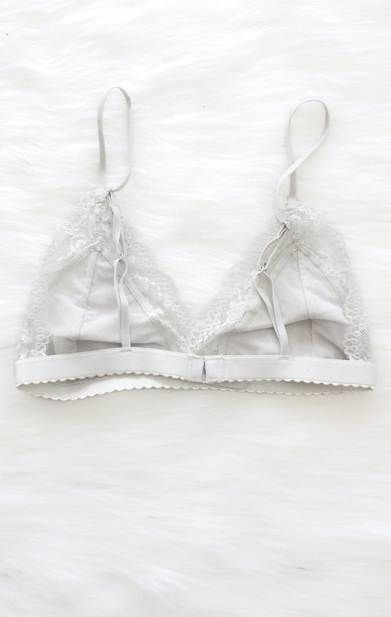 NYCT Clothing Lace Triangle Bralette - Light Grey
