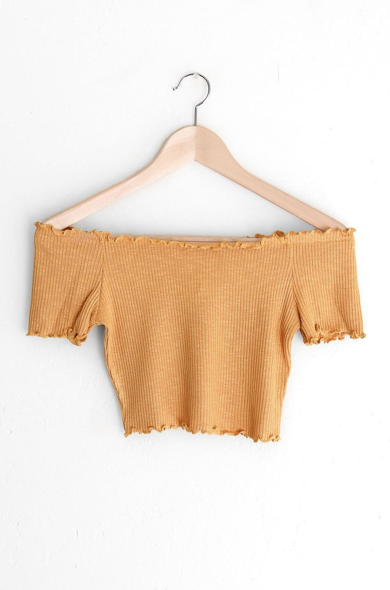 NYCT Clothing Off Shoulder Lettuce Edge Crop Top - Mustard