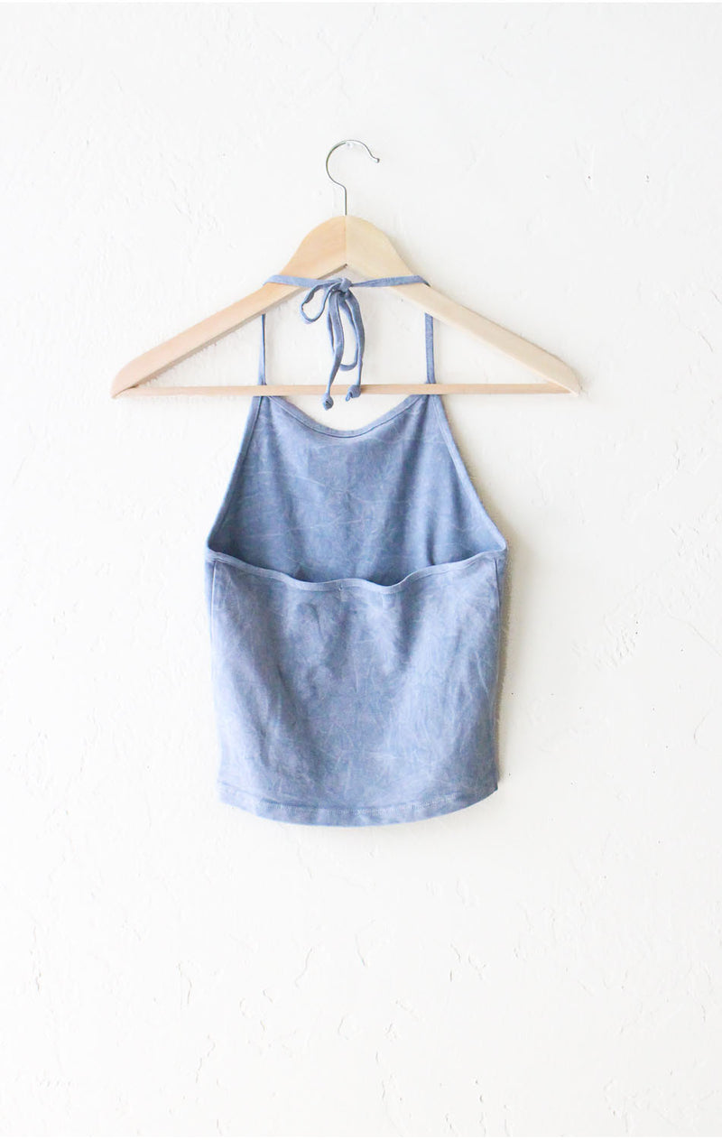 Dusty Blue Tie Dyed Halter Crop Top