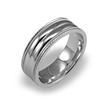 Mens Platinum Milgrain Edge Wedding Ring