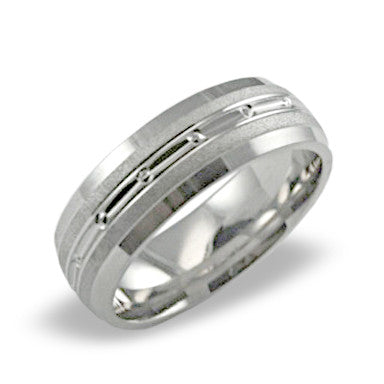 Mens Wedding Band In Platinum - 4 Channel Polished