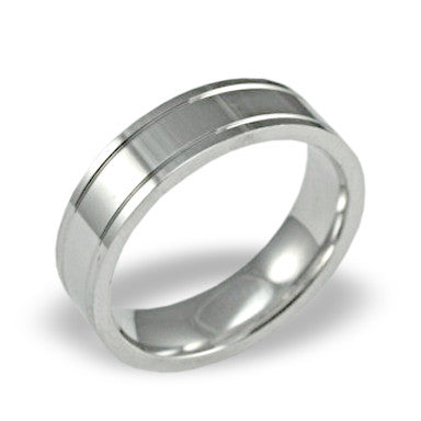 Mens Wedding Band In Platinum - Dual Channel Brushed