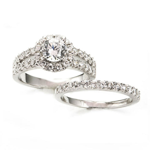 Diamond Split Shank Wedding Set