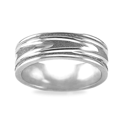 Mens Wedding Band In Platinum - Carved Bar