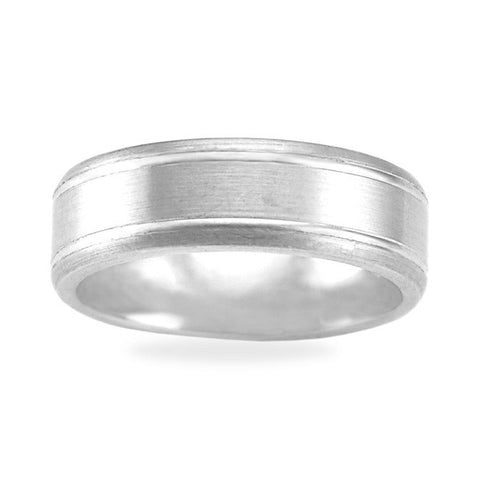 Mens Wedding Band In Platinum - Dual Channel Satin Edge