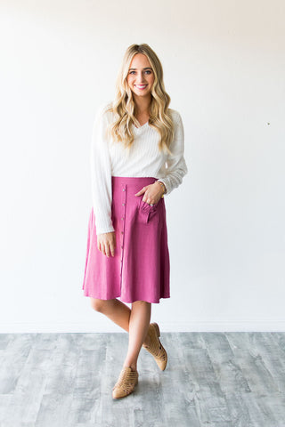HOPE BUTTON FRONT SKIRT | BERRY