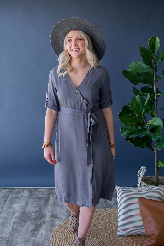 DESIREE BUTTON FRONT DRESS | SLATE BLUE